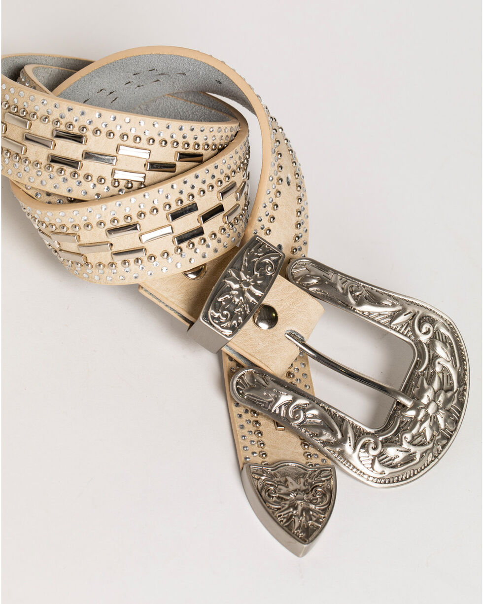 Shyanne Women's Studded Dashed Belt, White, hi-res