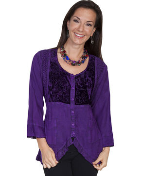 Scully Women's Ruffled Velvet Blouse, Purple, hi-res
