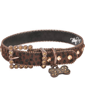 Blazin Roxx Leopard Print Dog Collar - M-L, Brown, hi-res