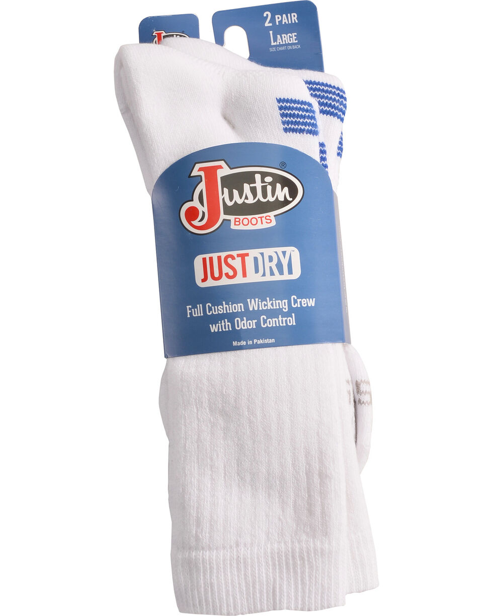 Justin Boots Men's JUSTDRY Socks - White, White, hi-res