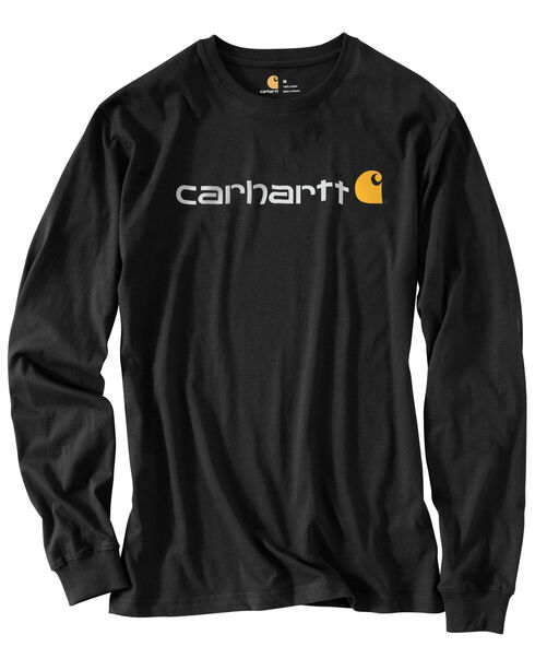Carhartt Men's Long Sleeve Logo T-Shirt, Black, hi-res