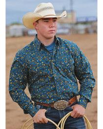 Cinch Men's Blue Floral Print Modern Fit Double Pocket Western Shirt, , hi-res