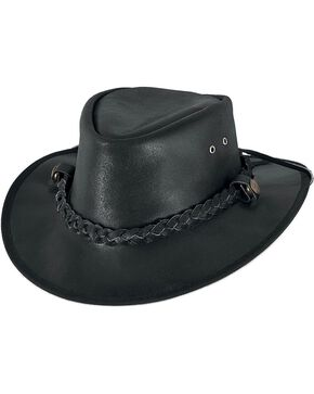 Bullhide Men's Cessnock Leather Hat, Black, hi-res