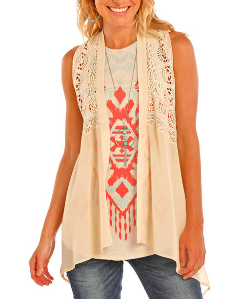 Rock & Roll Cowgirl Ladies Crochet and Lace Vest, Tan, hi-res