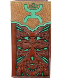Hooey Men's Tooled Cutout Rodeo Checkbook Wallet, , hi-res