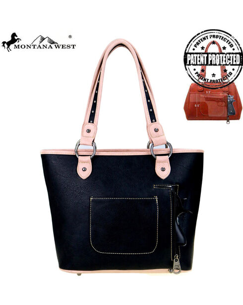 Montana West Women's Cut-Out Matching Inlay Concealed Carry Handbag , , hi-res