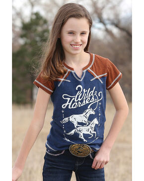 Cruel Girl Girls' Navy Wild Horses Graphic Tee , Navy, hi-res