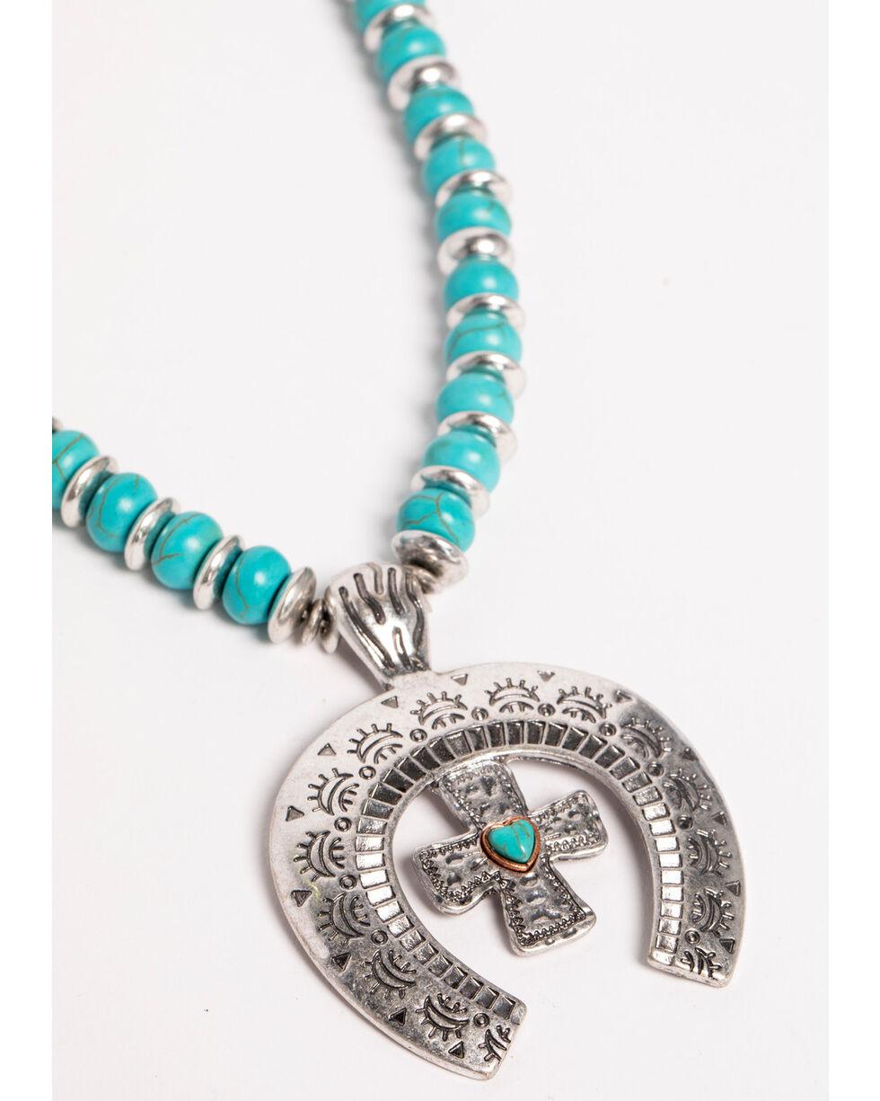 Shyanne Women's Cross Squash Blossom Jewelry Set , Silver, hi-res