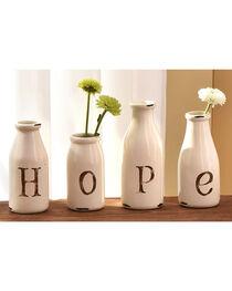 Giftcraft White Dolomite Bottle Vase Hope Decor - 4 Pieces , , hi-res