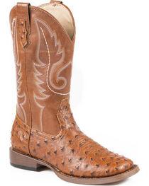 Roper Youth Boys' Ostrich Print Cowboy Boots - Square Toe, , hi-res