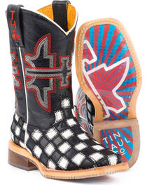 Tin Haul Boys' Checkmate Star Sole Cowboy Boots - Square Toe, , hi-res