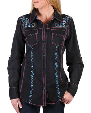 Grace In LA Women's Sequin Embroidered Western Shirt, Black, hi-res