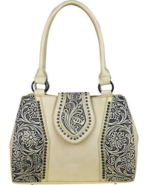 Montana West Trinity Ranch Tooled Leather Concealed Carry Satchel , Beige/khaki, hi-res