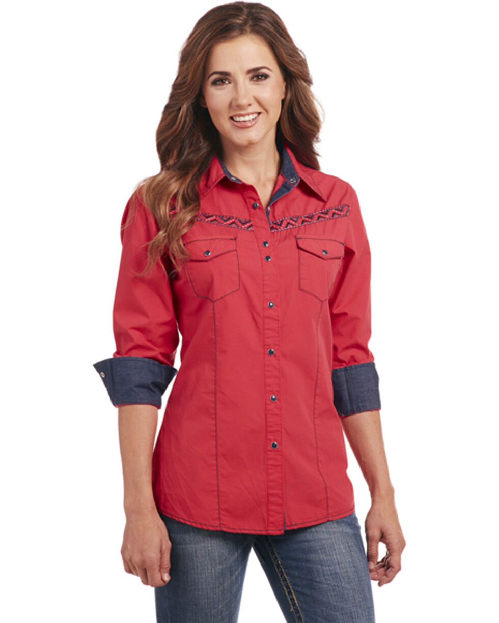 Cowgirl Up Women's Embroidered Long Sleeve Western Snap Shirt, Red, hi-res