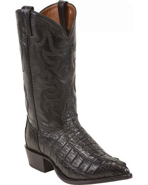 "Tony Lama Men's 13"" Caiman Exotic Western Boots, Black, hi-res"