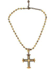 Blazin Roxx Beaded Cross Pendant Necklace, , hi-res