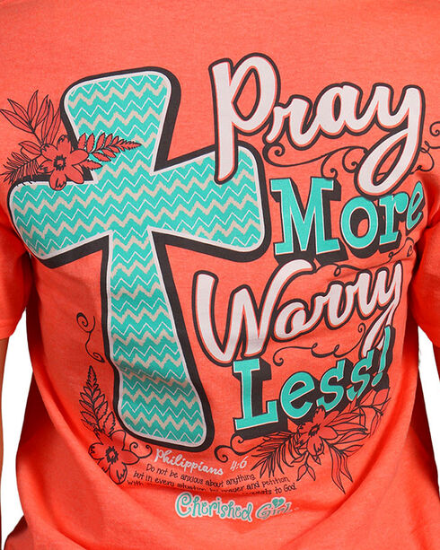 "Cherished Girl Women's ""Pray More"" Graphic Tee, Coral, hi-res"