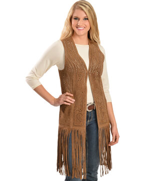 Scully Women's Long Suede Fringe Vest, Brown, hi-res