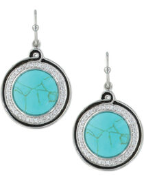 Montana Silversmiths Women's Classic Turquoise Medallion Earrings , , hi-res