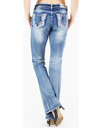 Grace in LA Women's Light Blue Floral Pocket Jeans - Boot Cut , , hi-res