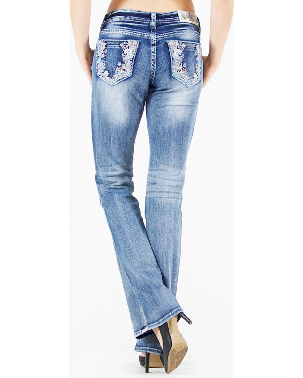 Grace in LA Women's Light Blue Floral Pocket Jeans - Boot Cut , , hi-res