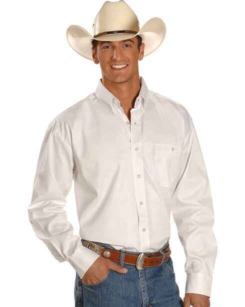 George Strait by Wrangler Men's Long Sleeve Western Shirt, White, hi-res