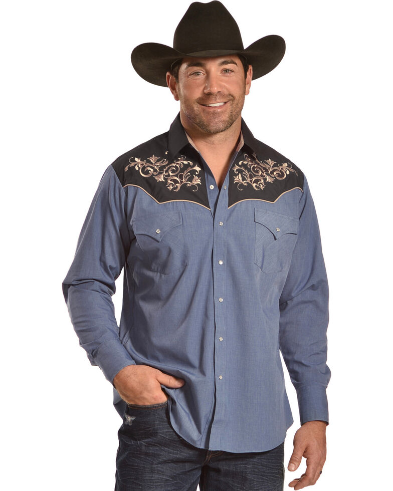 99941ad180 Ely Cattleman Men s Retro Chambray Embroidered Long Sleeve Western Snap  Shirt