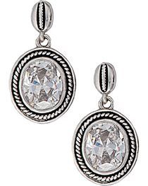 Montana Silversmiths Roped Oval Cubic Zirconia Earrings, , hi-res