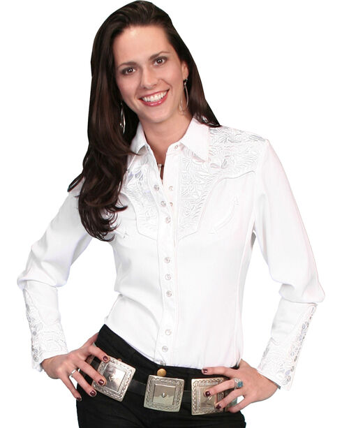 Scully Women's Floral Embroidered Long Sleeve Western Shirt, White, hi-res