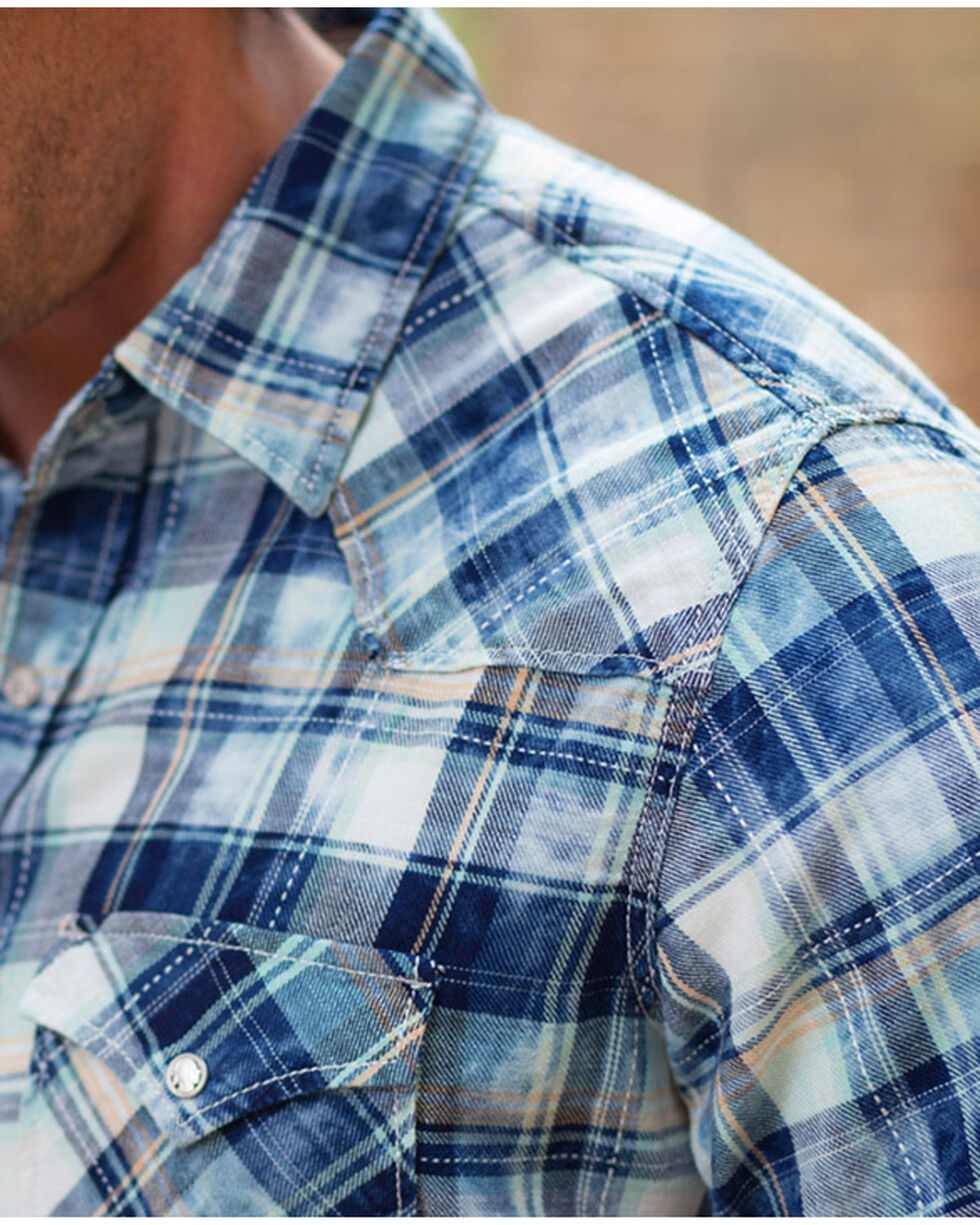 Ryan Michael Men's Indigo Pick Stitch Plaid Shirt , Indigo, hi-res