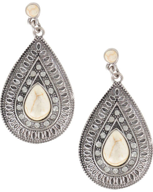 Shyanne® Women's Vintage Tear Drop Earrings, Cream, hi-res