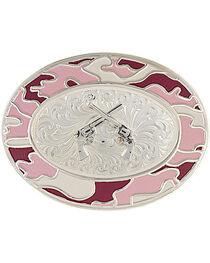 Montana Silversmiths Silver-Tone Pink Camo Crossed Pistols Belt Buckle, , hi-res
