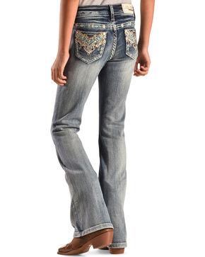 Grace in LA Girls' Medium Wash Aztec Chevron Jeans - Bootcut, Denim, hi-res
