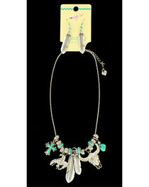 Blazin Roxx Feather Charm Necklace & Earrings Set, , hi-res