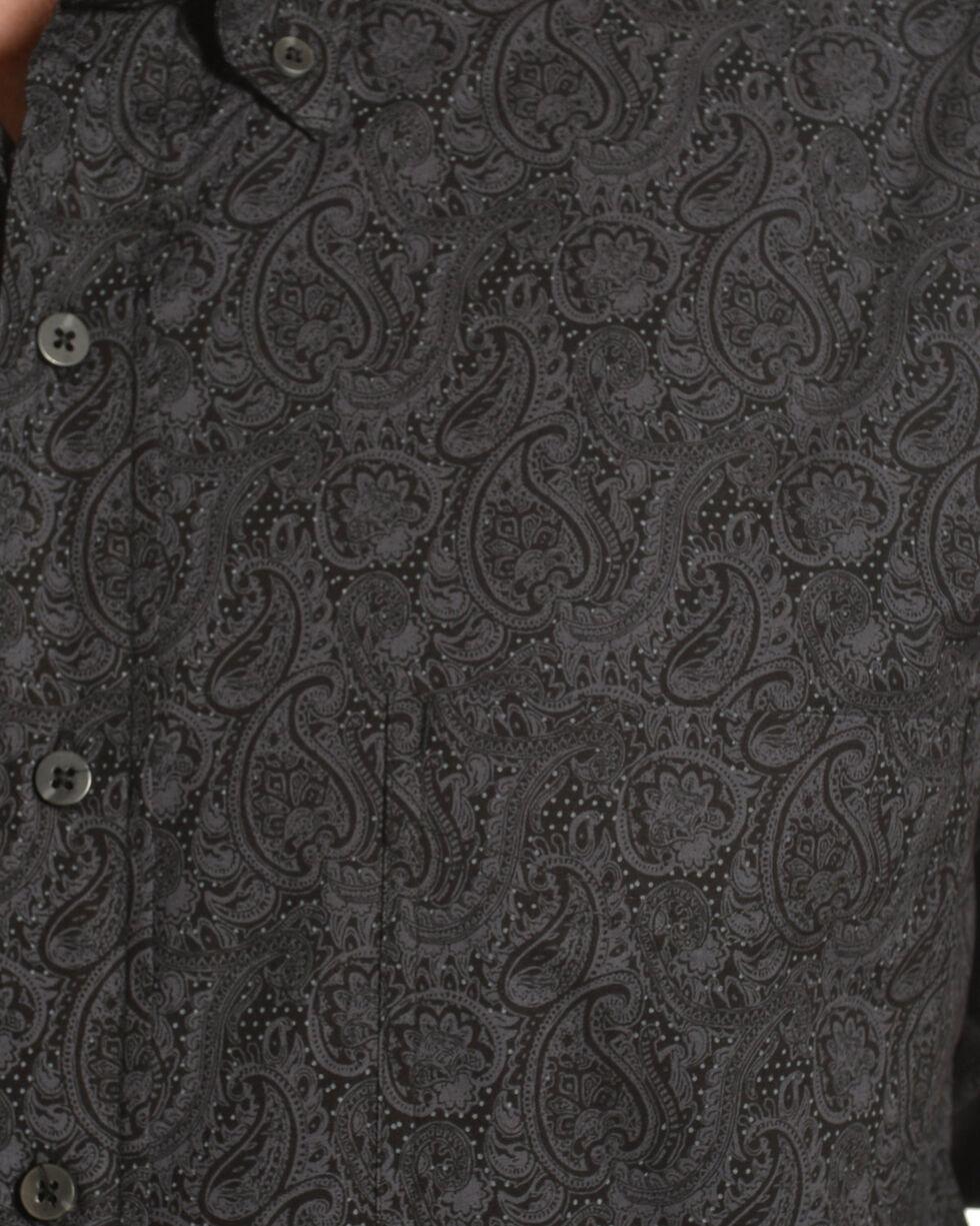 Tuff Cooper by Panhandle Men's Gray Paisley Print Shirt , Black, hi-res