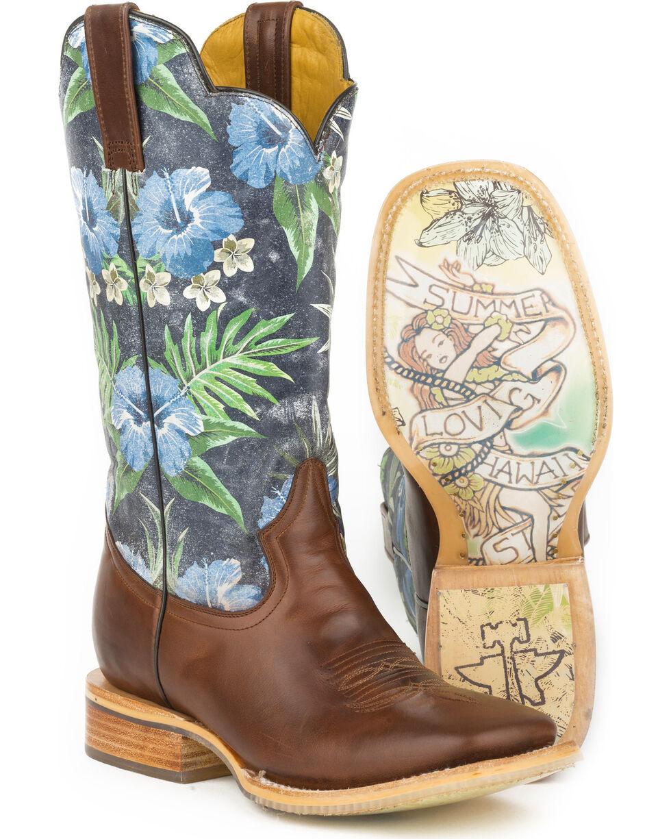 Tin Haul Blue Hawaii Cowboy Boots - Square Toe , Brown, hi-res
