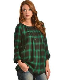 Red Ranch Green Plaid Pleather Trim Pleated Flannel Top , , hi-res