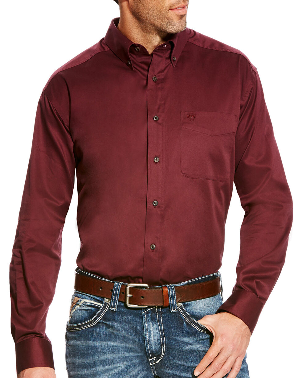 Ariat Men's Malbec Classic Fit Solid Twill Shirt, Wine, hi-res