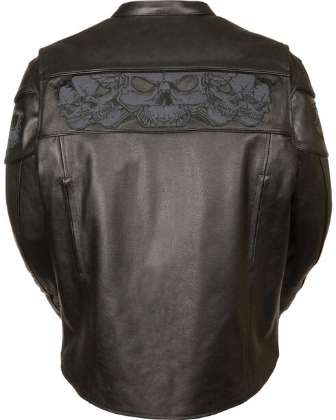 Milwaukee Leather Men's Reflective Skull Crossover Scooter Jacket - 4X, Black, hi-res