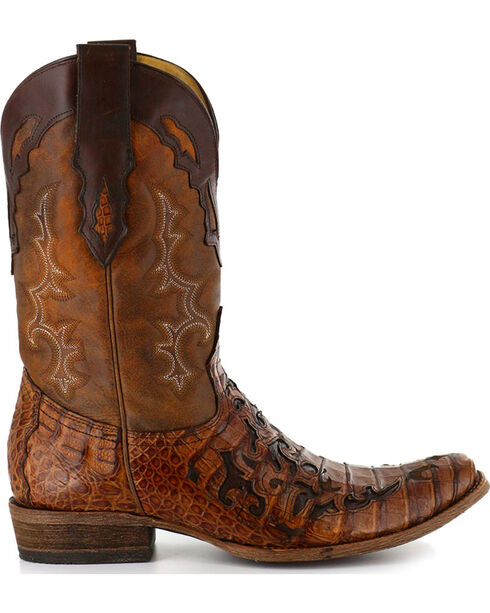 Corral Men's Caiman Laser Cut Square Toe Western Boots, Brown, hi-res