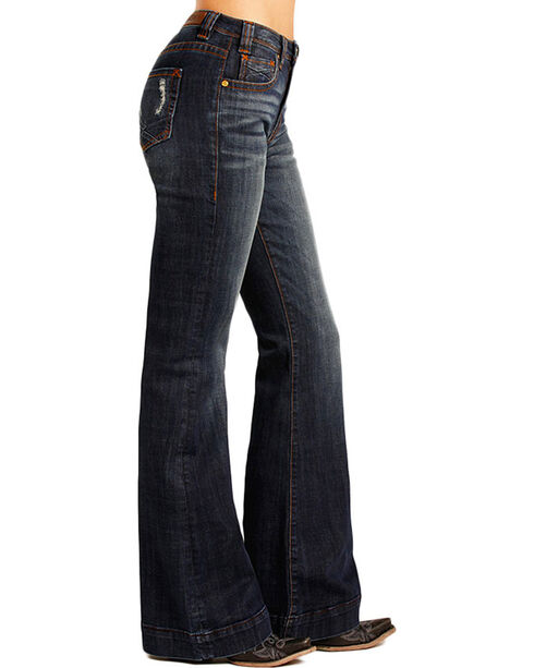 Rock & Roll Cowgirl Women's Low Rise Trouser Jeans, Indigo, hi-res