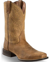 Ariat Men's Sport Herdsman Distressed Brown Western Boots - Square Toe, , hi-res