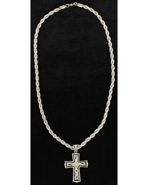 Twister Men's Floral Scroll Cross Necklace , Silver, hi-res