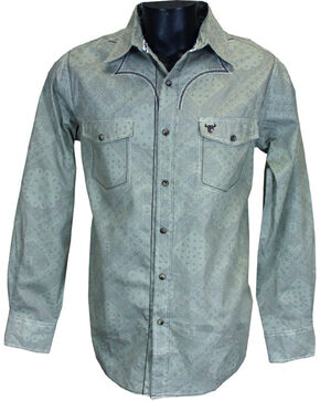 Cowboy Hardware Men's Printed Long Sleeve Shirt, Grey, hi-res