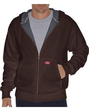 Dickie's Men's Thermal Lined Fleece Hoodie, Dark Brown, hi-res