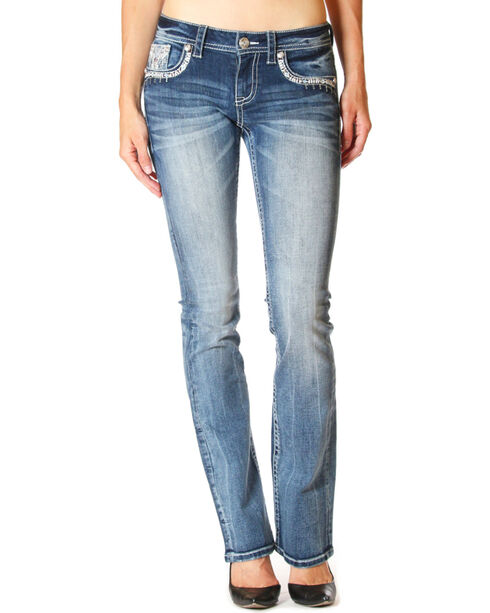 Grace in LA Women's Medium Blue Embroidered Pocket Jeans - Boot Cut , Medium Blue, hi-res