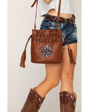 Shyanne Women's Aztec Inlay Bucket Bag, Brown, hi-res