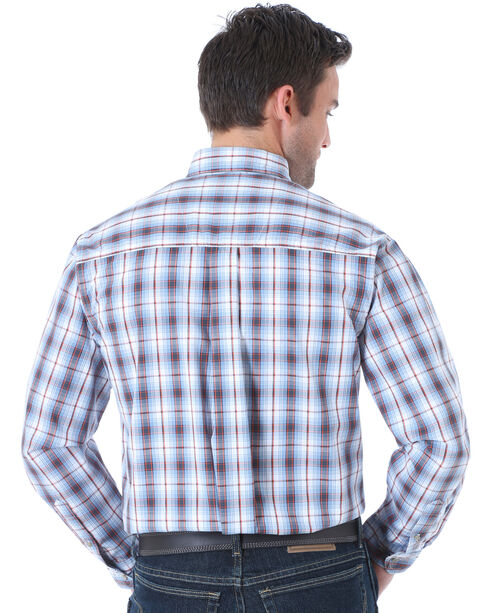 Wrangler Men's Rugged Wear Slate Plaid Long Sleeve Shirt , Slate, hi-res