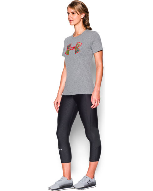Under Armour Women's Charcoal Grey Camo Logo Triblend T-Shirt, Charcoal Grey, hi-res