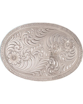 Montana Silvermiths Oval Engraved Western Belt Buckle, Silver, hi-res